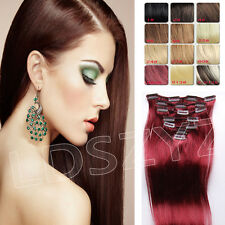 """NEW Arrival Clip In Remy Human Hair Extensions Any Colors Full Head 14""""-26"""" 7PCS"""