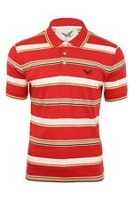 Mens Polo T-Shirt FCUK French Connection Red Stripe