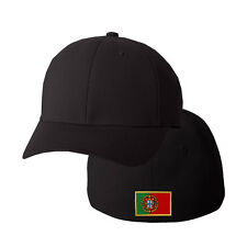PORTUGAL FLAG Embroidery Embroidered Black Cotton Flexfit Hat Cap