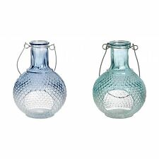 Hill Interiors Ornate Glass Tea Light Candle Holder With Carry Handle (Blue/Gree