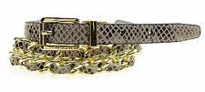 CALVIN KLEIN Womens Snake Embossed Leather Woven Chain Skinny Belt - Natural