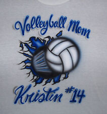 VOLLEYBALL MOM AIRBRUSH PERSONALIZED T SHIRT  ADULT SIZES S,M,L,XL,XXL,XXXL