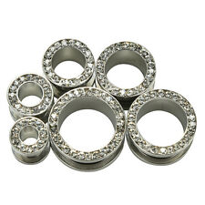 1Pair Clear Gem Tunnels Screw Fit Back Stainless Steel Plugs Gauges Fashion USHU