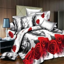 Rose Marilyn Monroe Queen Size Bed Quilt Doona Duvet Cover Set Pillow Cases New