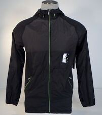 Asics Black Zip Front Reflective Hooded Running Wind Jacket Mens NWT