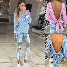 Sexy Women Striped Bowknot Backless Top Fashion Casual Long Sleeve Shirt Blouse