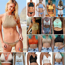 Womens Crochet Lace Bralette Knit Bra Beach Bikini Swimwear Cami Tank Crop Top