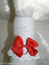 DOG CAT FERRET Travel Harness~Country WHITE EYELET LACE Holiday Party BOW/LACE