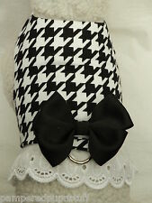 DOG CAT FERRET Custom Harness~Business Classic Black White Houndstooth Bow Lace