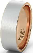 Mens Wedding Band Two Tone Tungsten Ring 8mm Brushed Matte Rose Gold Inside Flat