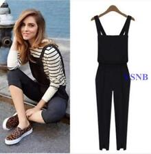 Womens Casual Harem Trousers Romper Jumpsuit Cross Suspender Pants Black Overall