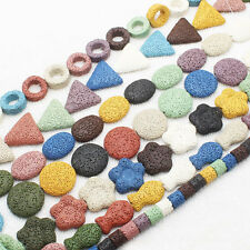 """Multi-color Volcanic Lave Stone  Loose Beads 15"""""""