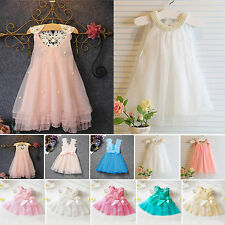 Pageant Kids Baby Girls Party Dress Pearl Lace Tulle Gown Formal Dress Sundress
