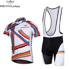 Mens Outdoor Quick Dry BIke Cycling Jersey + Bib Shorts Bicycle Clothing Wear