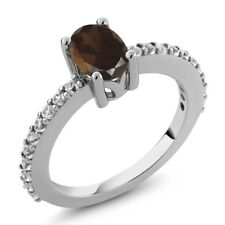 1.05 Ct Oval Brown Smoky Quartz White Created Sapphire 925 Sterling Silver Ring