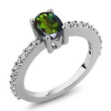 1.10 Ct Green Mystic Topaz White Created Sapphire 925 Silver Ring