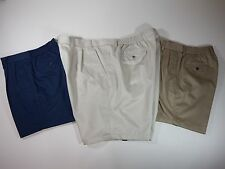 Mens Shorts Roundtree & Yorke Pleated Classic Fit Comfort Elastic Waistband