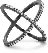 Black Cobalt Plated Criss Cross 'X' Ring with Signity CZs 925 Sterling Silver