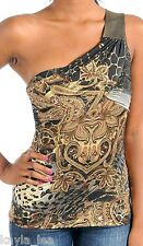 Gold Giraffe One/Off Shoulder Tank Top S/M/L Select Brown/Gray or Brown/Rust