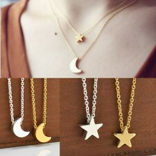 OL Simple Moon Star Silver/Gold Chain Crescent Love Charms Necklace Jewelry Gift