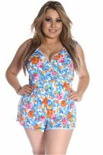 121AVENUE Adorable Two Tone Romper 1X Women Plus Size Blue Romper