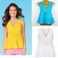 White Yellow Blue Sleeveless Summer Tunic Top Smock Blouse 100% Cotton