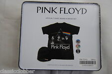 PINK FLOYD DARK SIDE OF THE MOON T SHIRT BEANIE & BADGE TIN SET NEW OFFICIAL