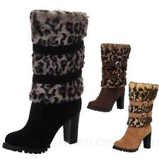 Winter Ladies Pump Leopard Mid Calf Heel Boots Shoes AU sz 4 5 6 7 8 9 10
