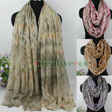 Women Vintage Wave Pattern&Geometric Print Soft Viscose Long/Infinity Scarf New
