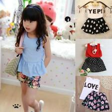 Newborn Baby Kids Girls Clothes Cotton T-shirts Tops +Pants Skirt Set Outfits