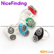 Fashion Women Jewelry Rings Oval Marquise Beads Tibetan Silver Marcasite Gifts