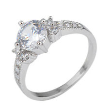 8MM White Sapphire CZ Women's 10Kt White Gold Filled Wedding Band Ring Size 6-10