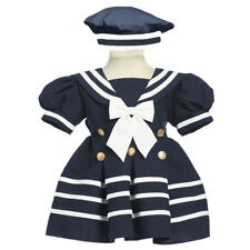 Infant Toddler Girls Sailor dress, Navy Blue ,Size: from  6 month to 24 month