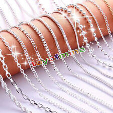 "Fashion 16""/18"" Women 925 Solid Sterling Silver Plated Chain Necklace"