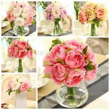 Artificial Silk Fake Flowers Peony Leaf Wedding Bouquet Bridal Home Party Decor