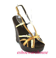 Sexy Caged Strap Gladiator Wedge Heel Shoes Bronze Gold
