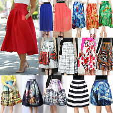 N Women Stretch High Waist Skater Flared Pleated Swing Long Skirt Dress 19 Style