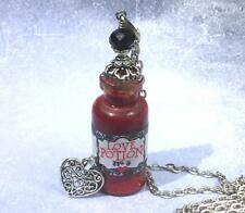 Love Potion Necklace Glass Bottle Pendant Black Crystal Apothecary Goth
