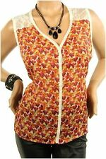 121AVENUE Charming Floral Chiffon Top 1X Women Plus Size Red Casual