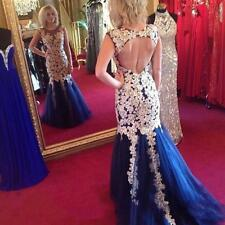 Sexy Open Back Applique Lace Evening Dresses Mermaid Prom Pageant Party Dresses