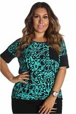 DEALZONE Two Tone Printed Pocket Top 1X Women Plus Size Aqua Casual