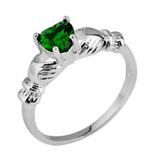 Jewelry Green Emerald Crystal Women's 10Kt White Gold Filled Gift Ring Size 6-10