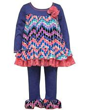 New Girls Bonnie Jean 12m - 24m Blue Coral Lace GEO Leggings outfit Fall Clothes