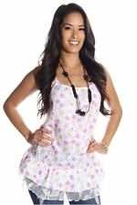 DEALZONE Cute Floral Print Top S Small Women Pink Casual Spaghetti Straps