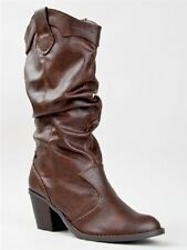 Womens SODA LODE Brown Pull-on Mid-Calf Cowboy/Western Slouch Casual/Dress Boots