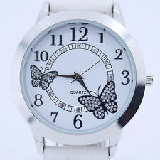 New Fashion Lady White Butterfly Leather Strap Quartz Wristwatch Gift U16