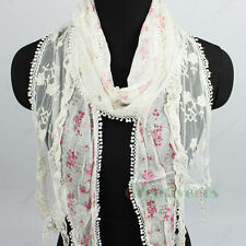 Women Fashion Floral Thin Long Mesh Scarf Shawl Dot Lace Trim Tassel Retro Shawl