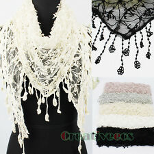 Fashion Women's Floral Net Mantilla Triangle Scarf Shawl Wrap Lace Trim Tassel