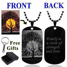 Tree Personalized Photo Letter Name Dog Tag Pendant Necklace Custom Engraved