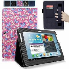 For Samsung Galaxy Tab 2 10.1 P5100 Hand Strap PU Leather Card Slot Stand Case